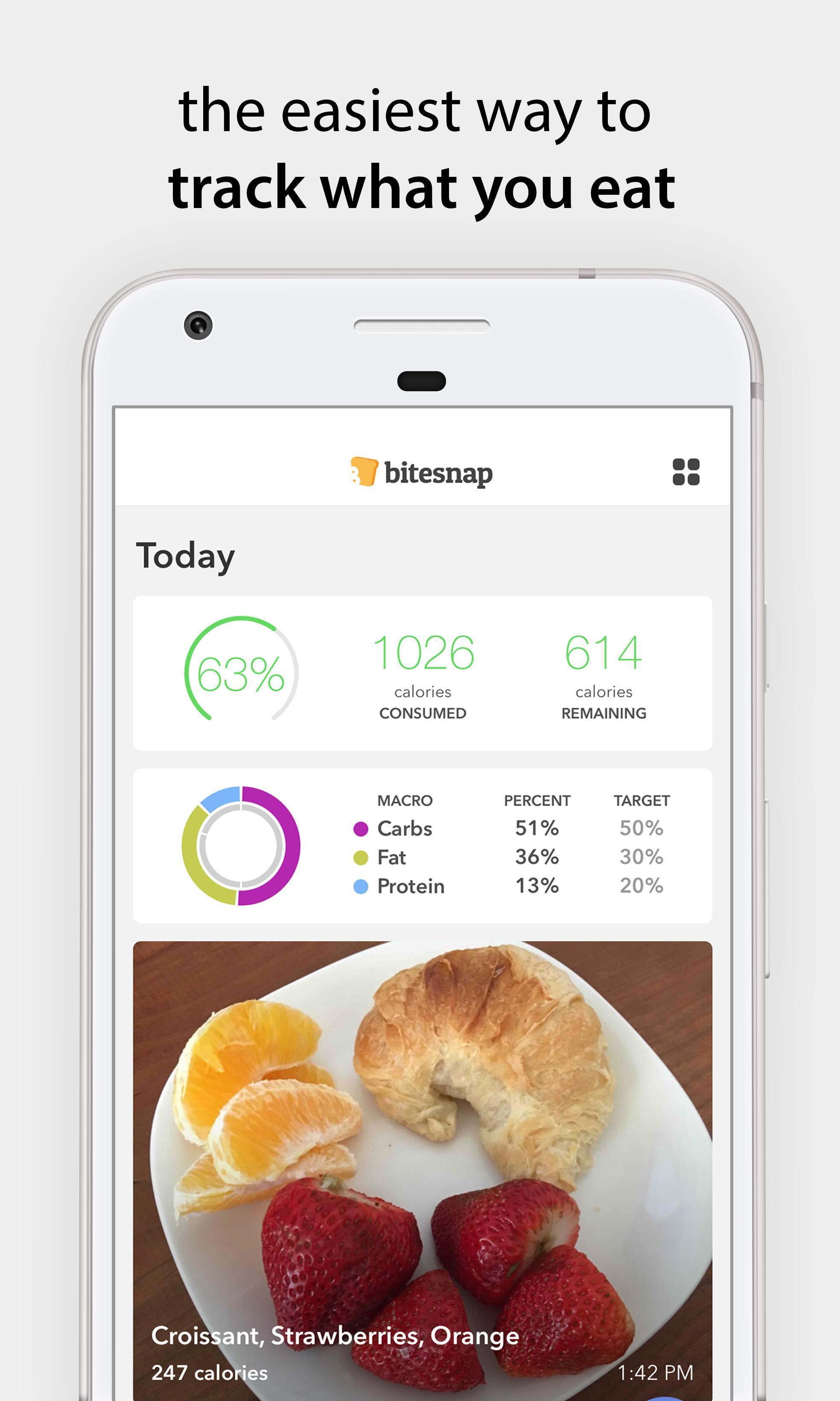 Bitesnap Photo Food Tracker and Calorie Counter 1.6.3 Screenshot 1