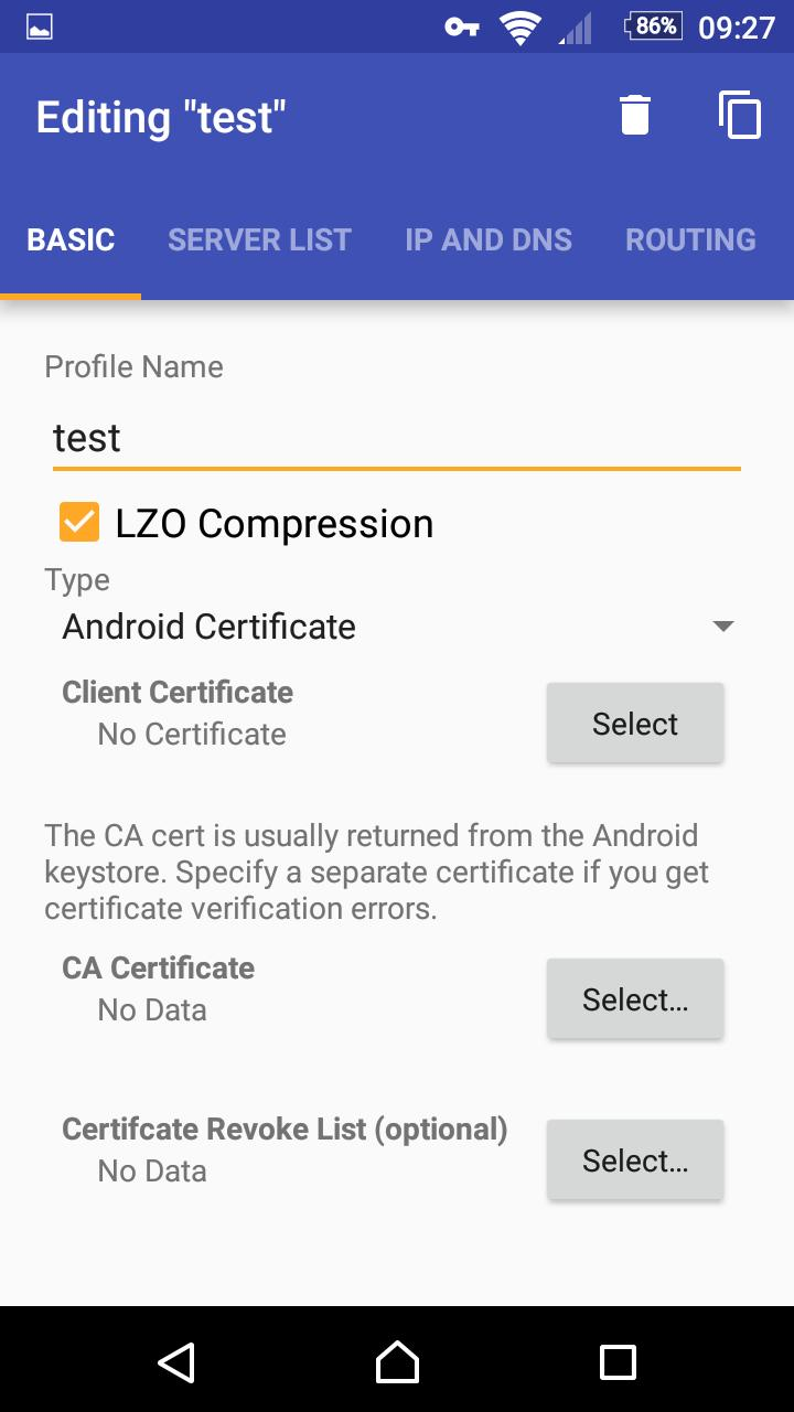 OpenVPN for Android 0.7.8 Screenshot 1