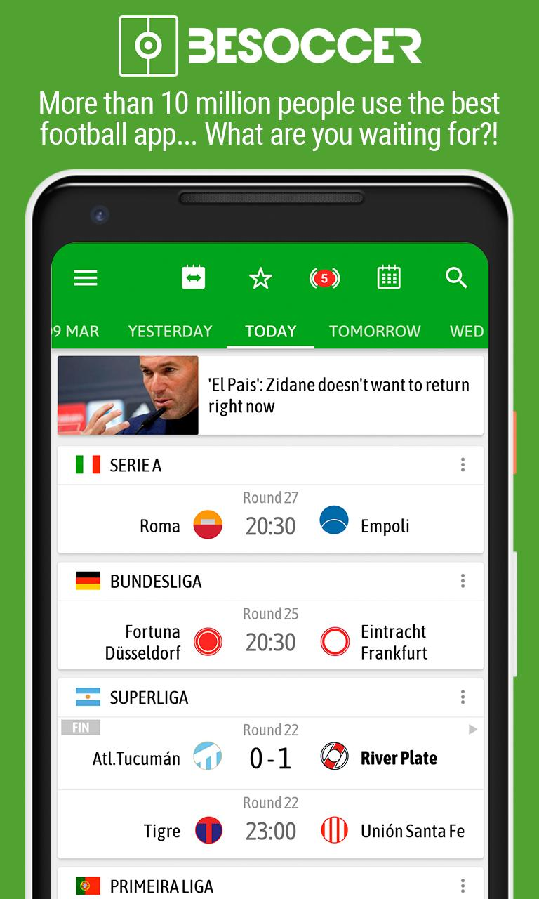 BeSoccer Soccer Live Score 5.1.1.4 Screenshot 1