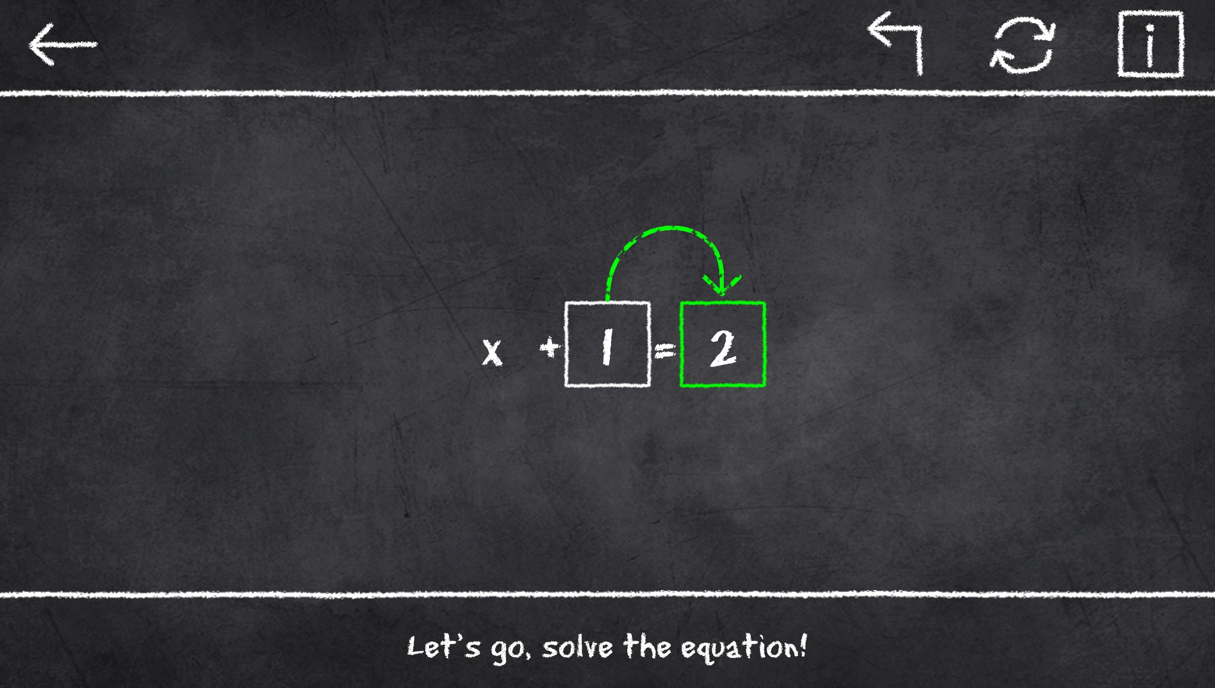 x=1: Learn to solve equations 2.3.2 Screenshot 1
