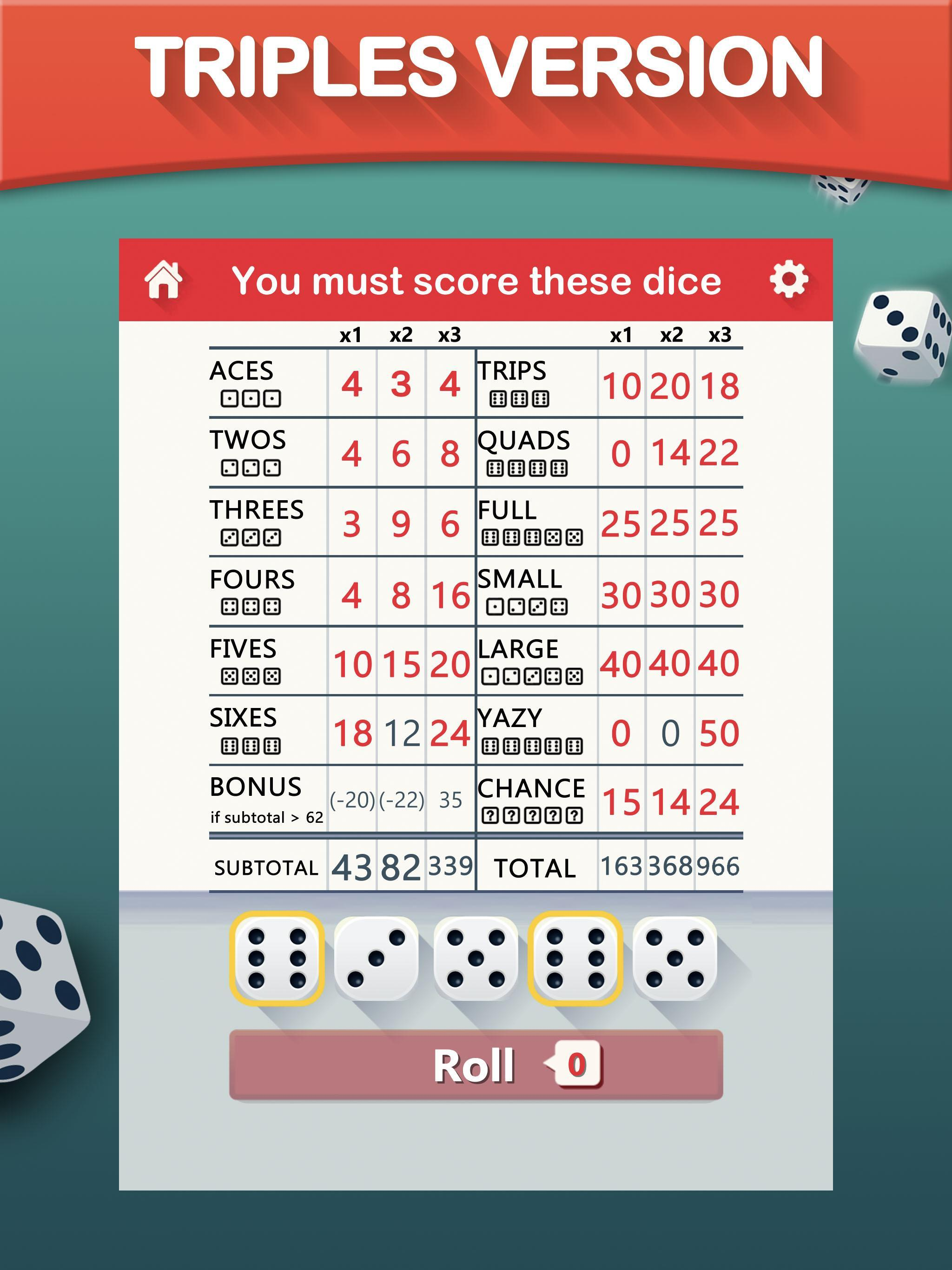 Yazy the best yatzy dice game 1.0.34 Screenshot 13