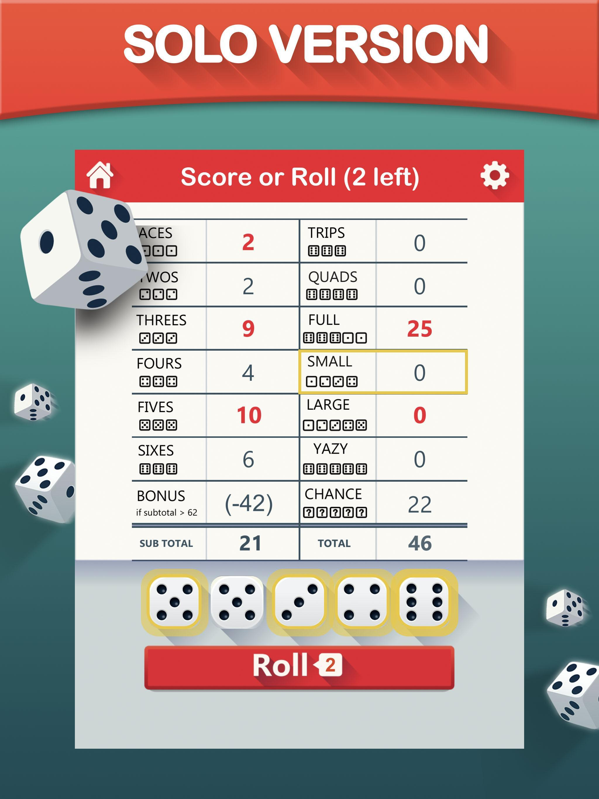 Yazy the best yatzy dice game 1.0.34 Screenshot 6