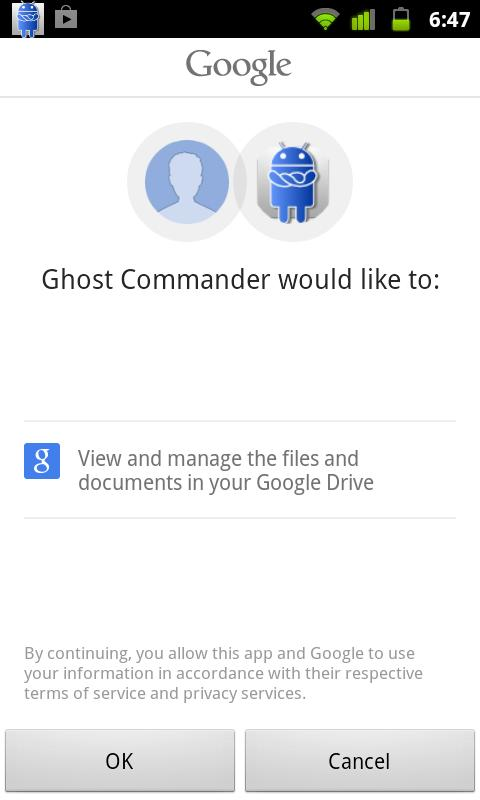 GhostCommander plugin: GDrive 1.03 Screenshot 1