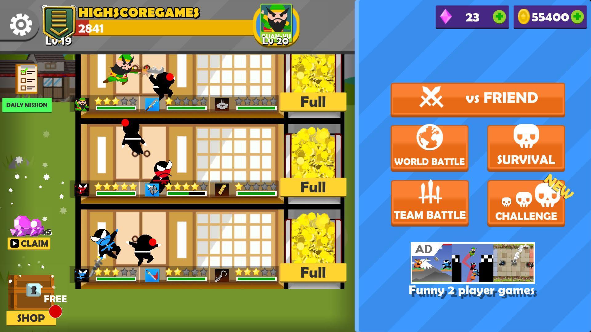 Jumping Ninja Battle - Two Player battle Action 3.97 Screenshot 12