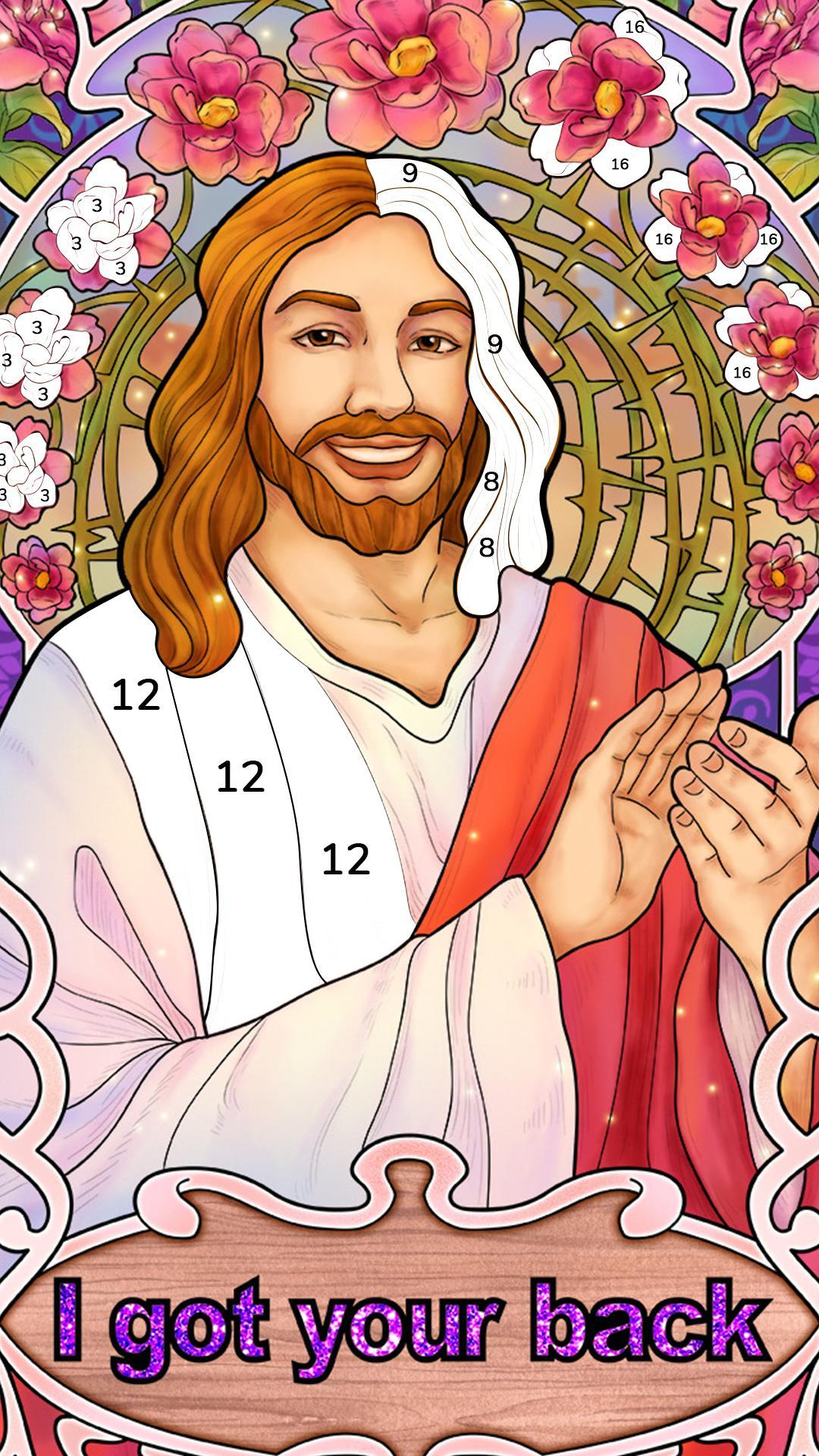 Bible Coloring Paint by Number, Free Bible Games 2.1.14 Screenshot 1