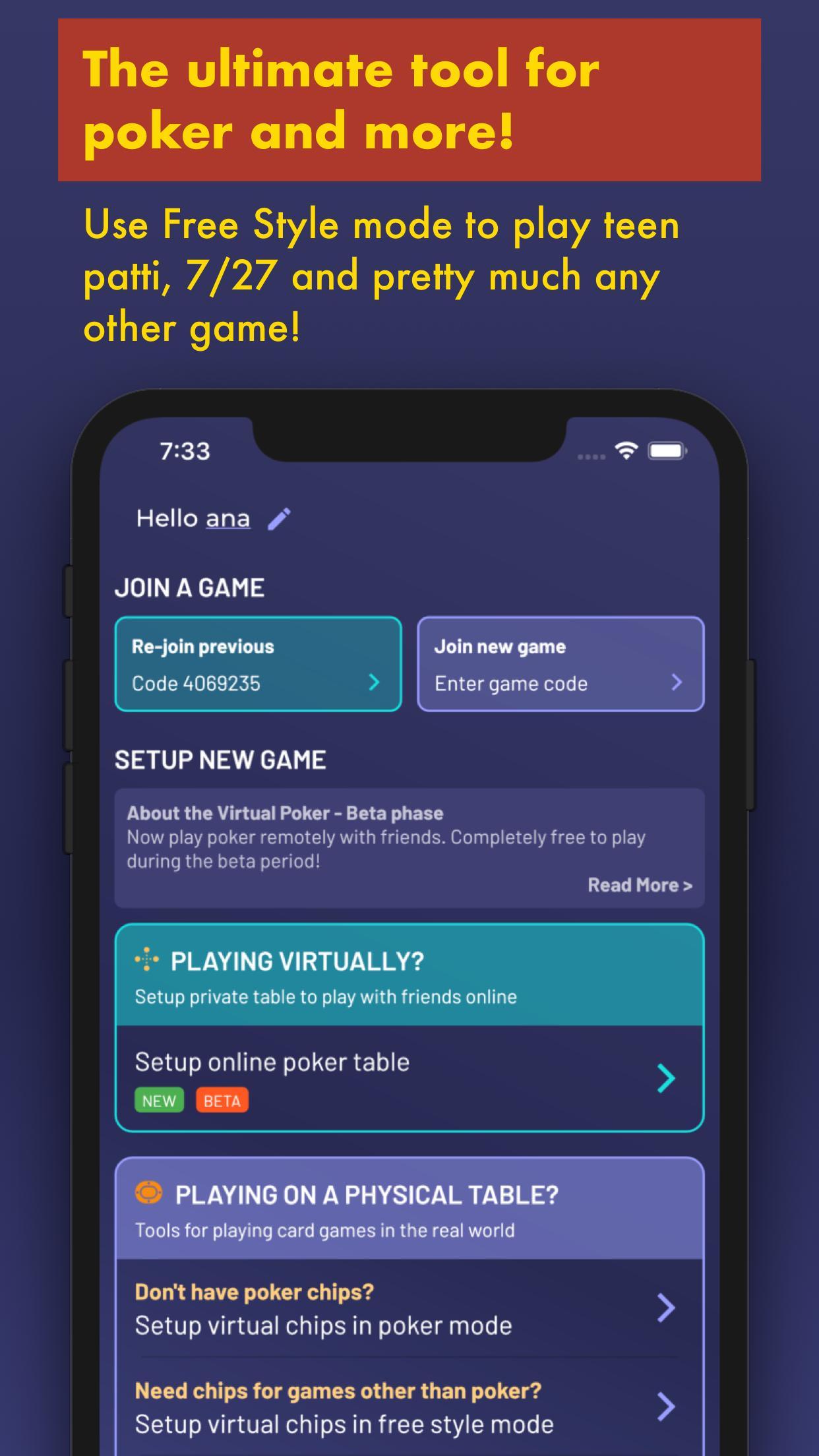 Chips of Fury Virtual Poker Chips, Poker Table 2.0.6 Screenshot 3