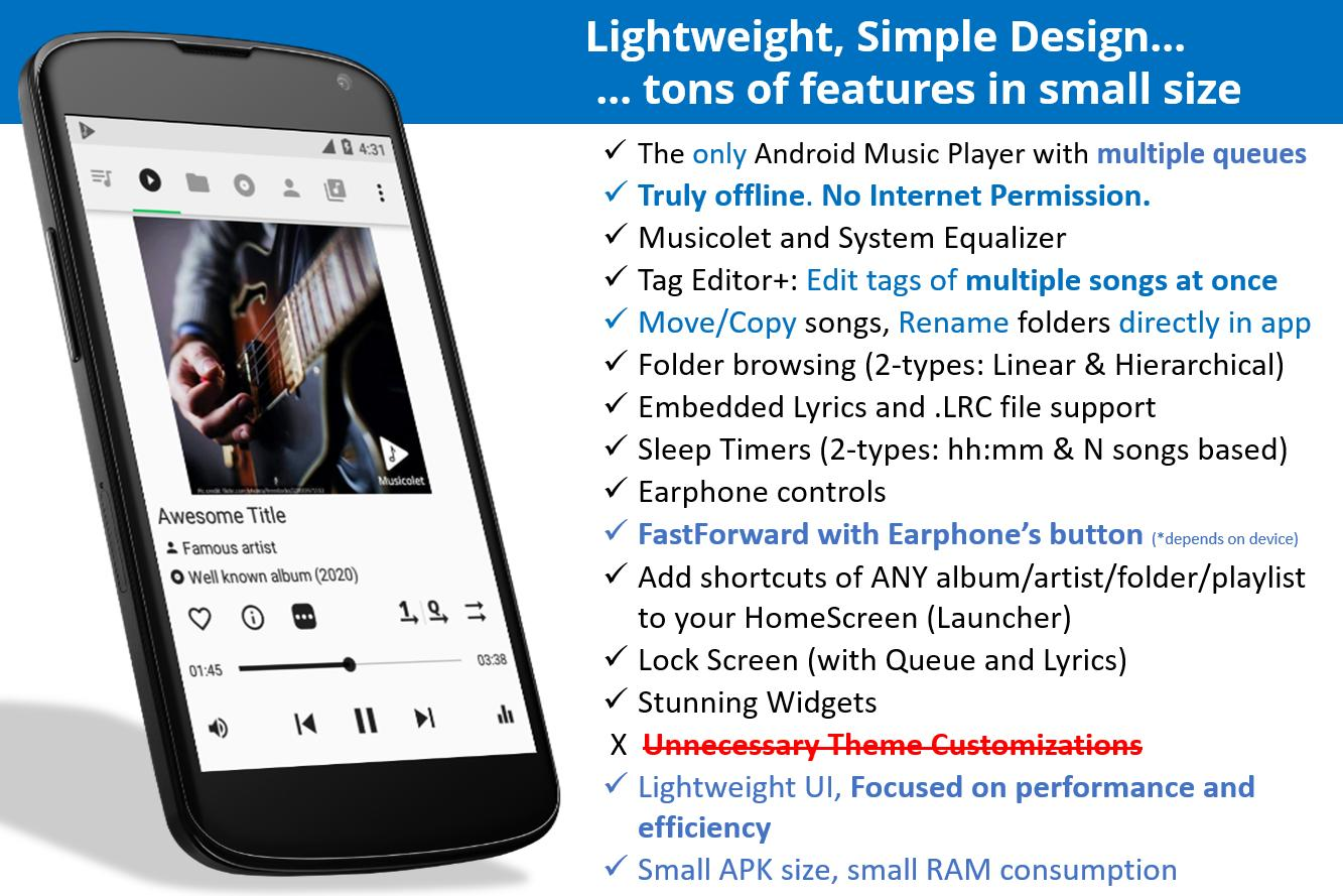 Musicolet Music Player [Free, No ads] 4.2.1 build182 Screenshot 1