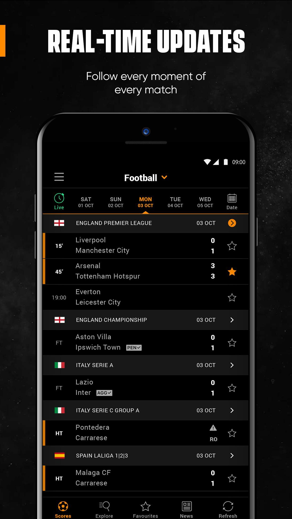 LiveScore Live Sport Updates 3.1.1 Screenshot 2