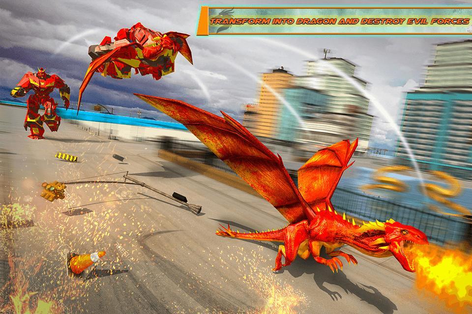 Flying Dragon Robot Car - Robot Transforming Games 2.2 Screenshot 2