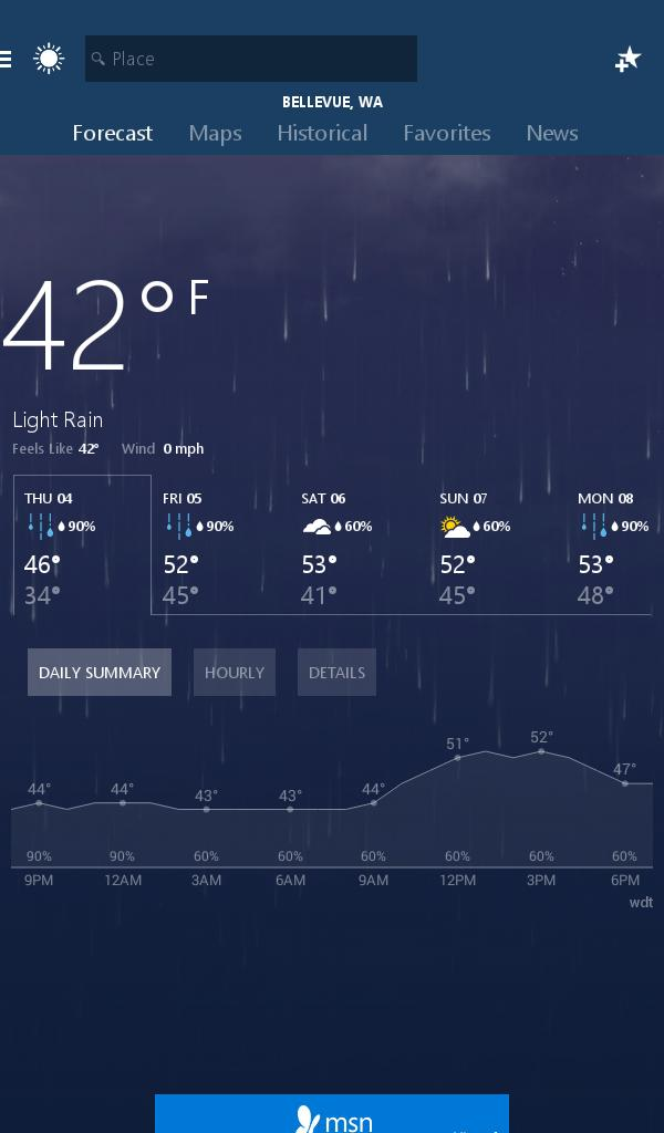 MSN Weather - Forecast & Maps 1.2.0 Screenshot 10