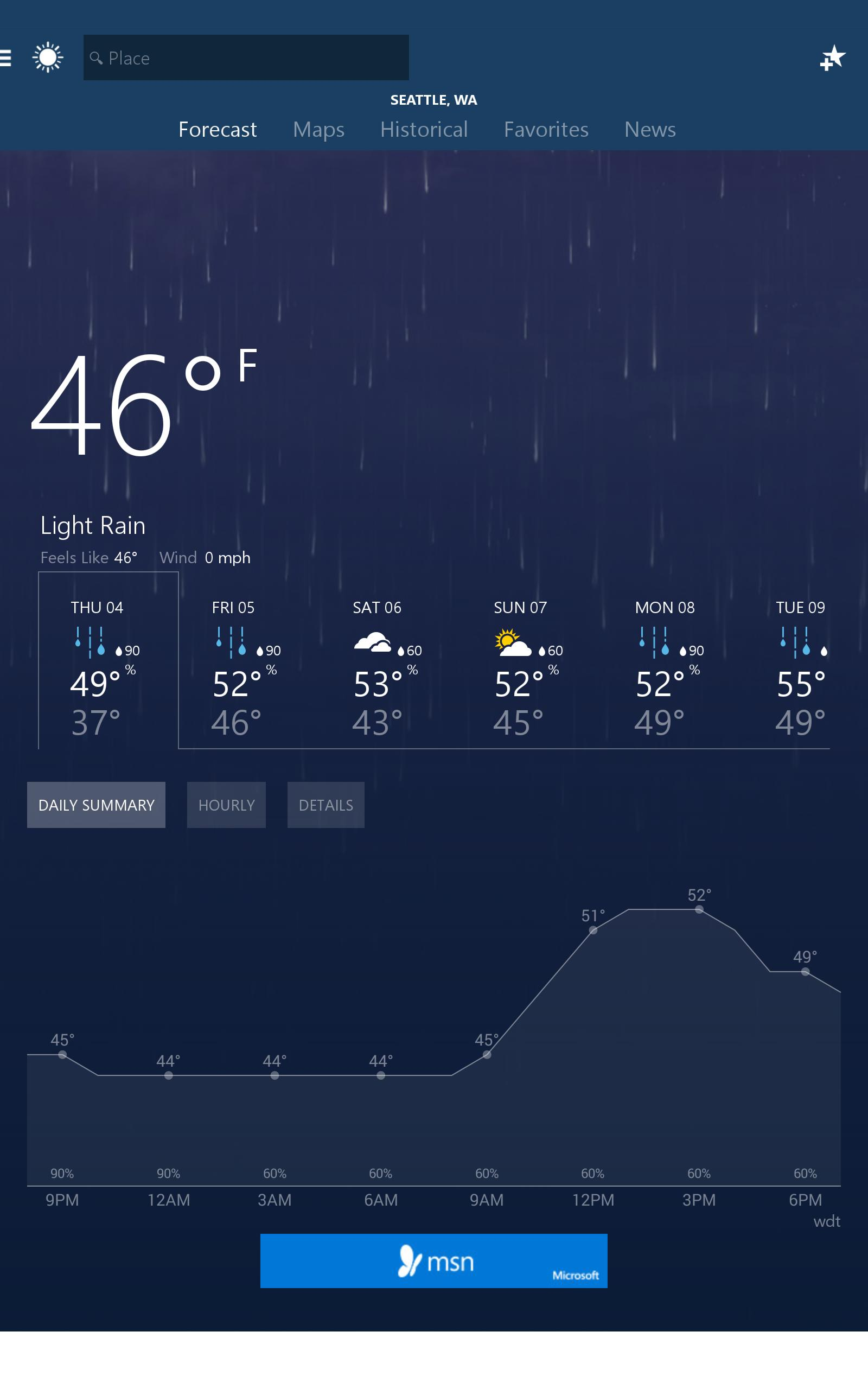 MSN Weather - Forecast & Maps 1.2.0 Screenshot 5