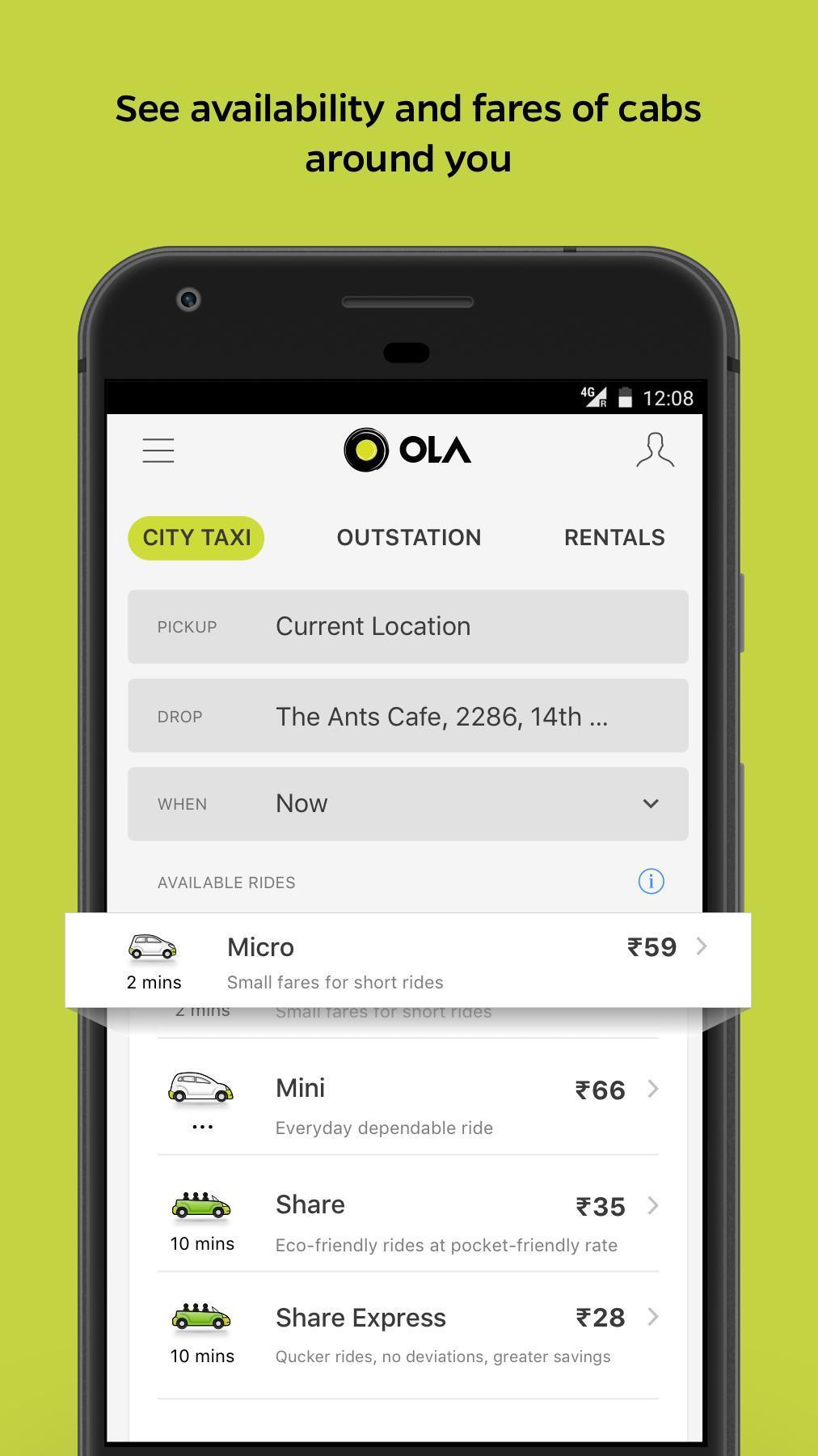 Ola Lite Lighter Faster Ola App. Book Taxi & Cabs 3.1 Screenshot 1