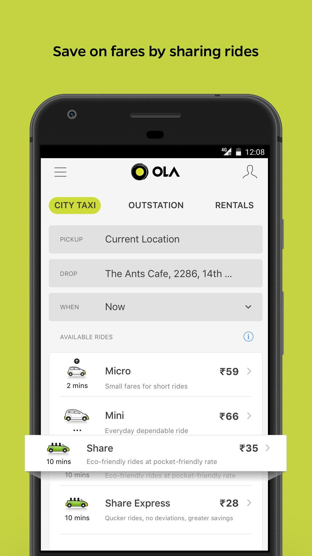 Ola Lite Lighter Faster Ola App. Book Taxi & Cabs 3.1 Screenshot 2