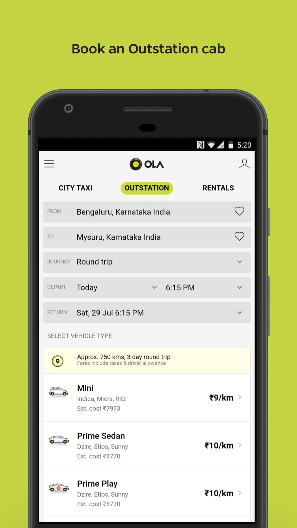 Ola Lite Lighter Faster Ola App. Book Taxi & Cabs 3.1 Screenshot 5