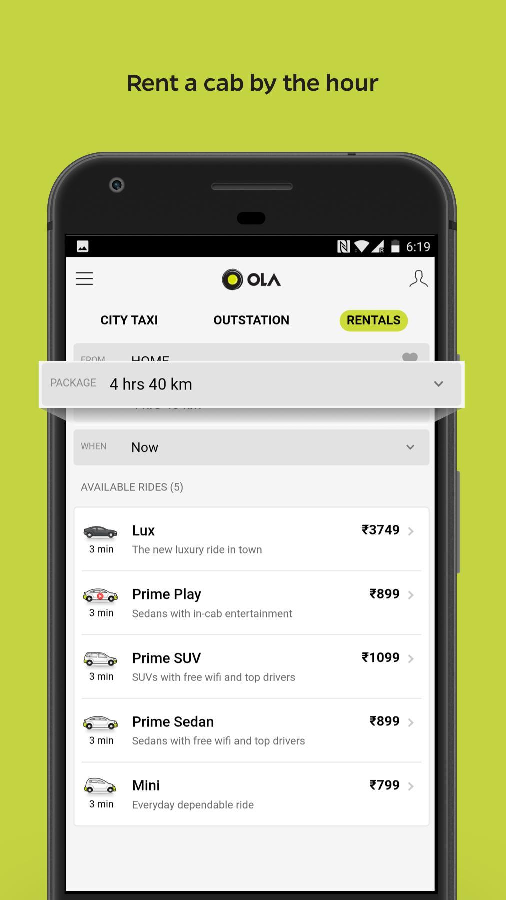 Ola Lite Lighter Faster Ola App. Book Taxi & Cabs 3.1 Screenshot 6