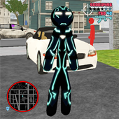 Neon Iron Stickman Rope Hero City Gangstar Mafia app icon