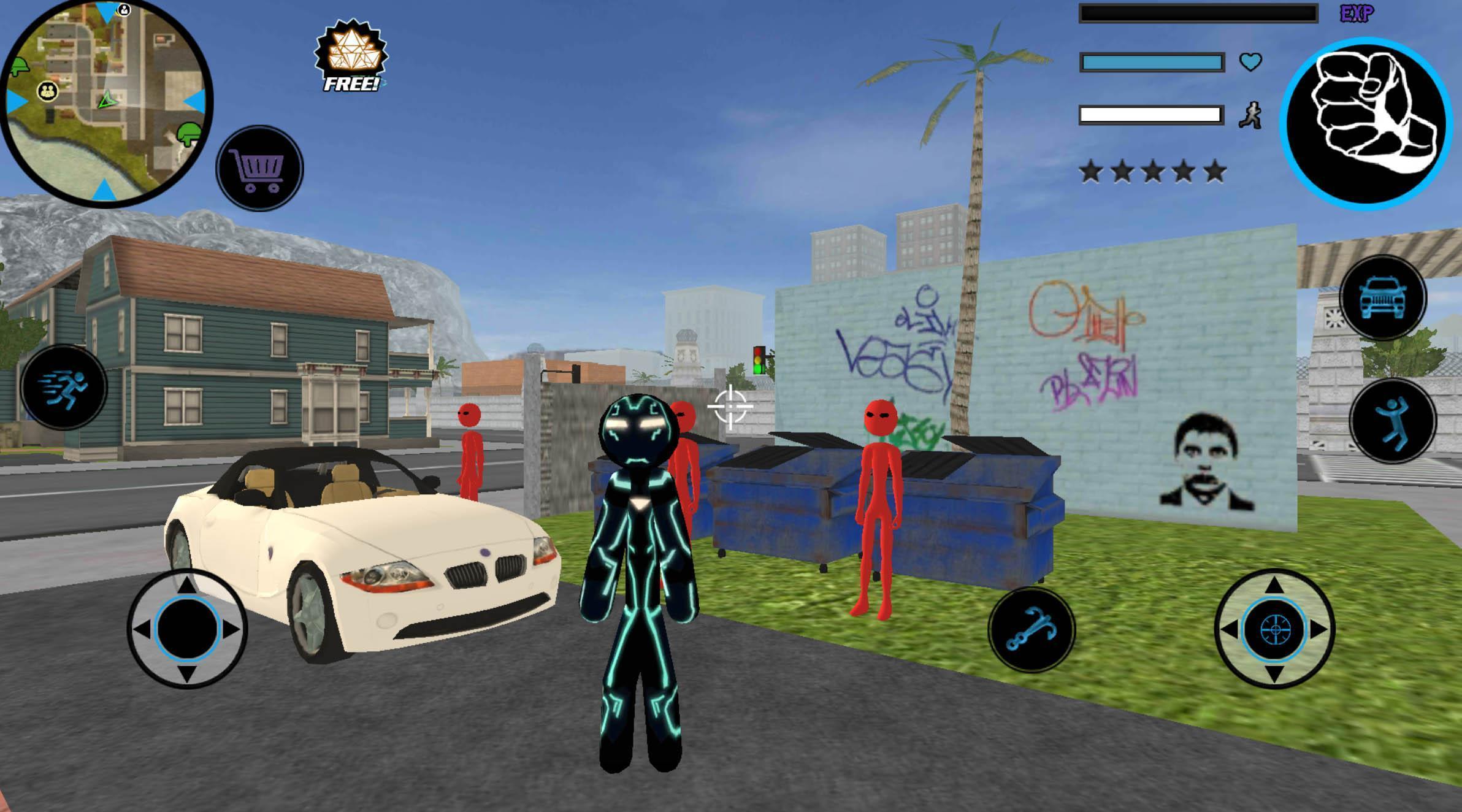 Neon Iron Stickman Rope Hero City Gangstar Mafia 1.6 Screenshot 2