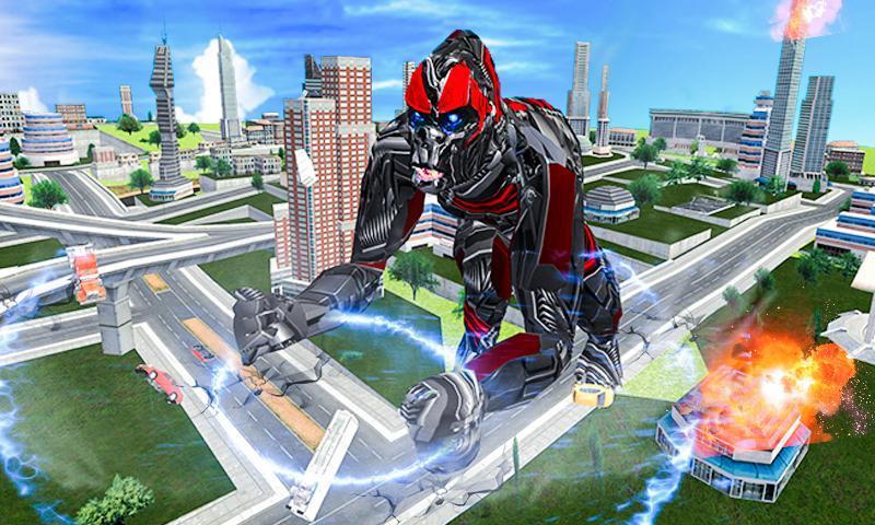 Futuristic Robot Transforming Gorilla Attack City 1.0.4 Screenshot 2