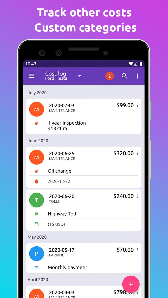Fuelio gas log, costs, car management, GPS routes 7.6.15 Screenshot 4