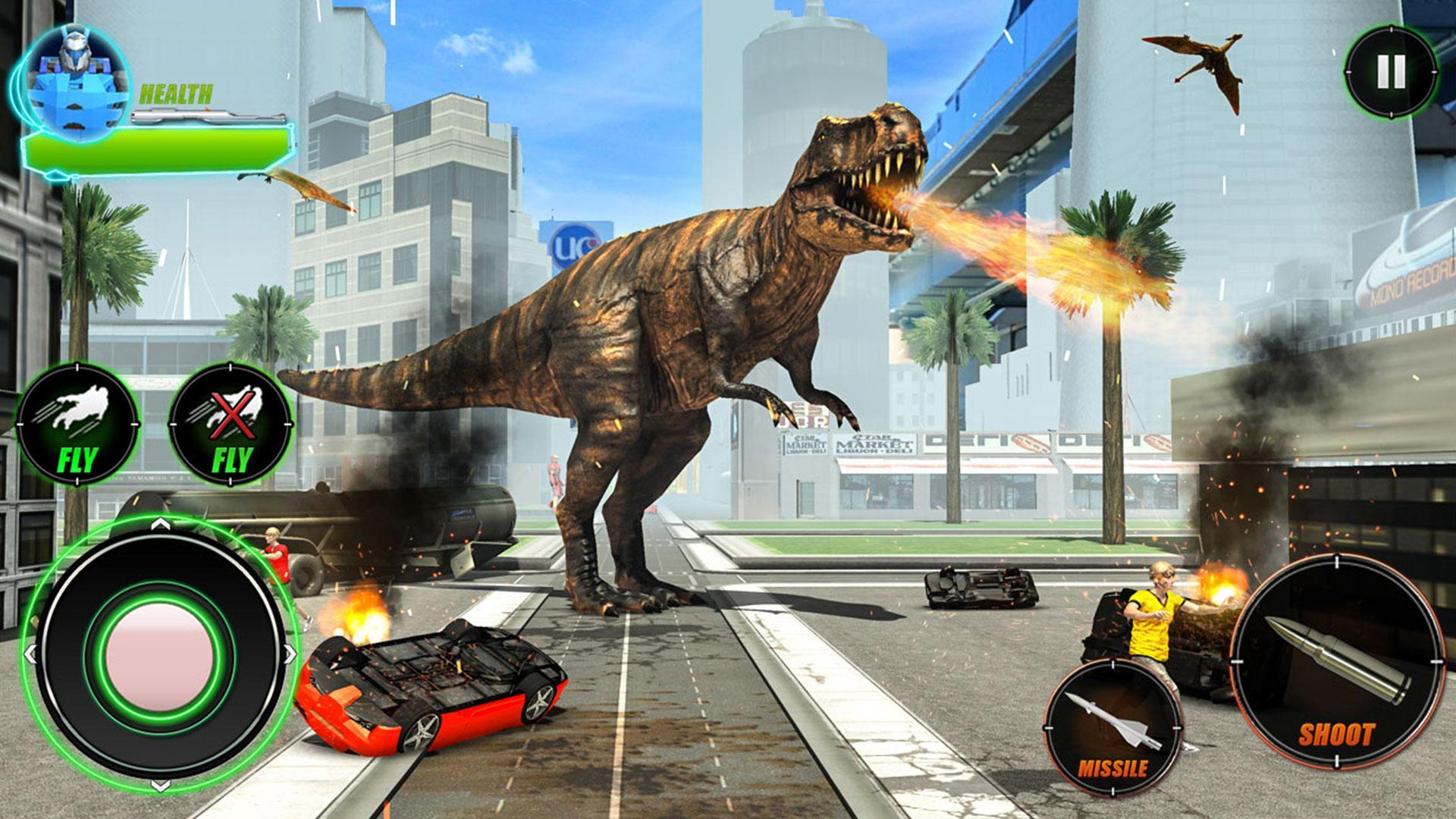 Wild Dinosaur Rampage : Flying Robot Shooting Game 2.3 Screenshot 4