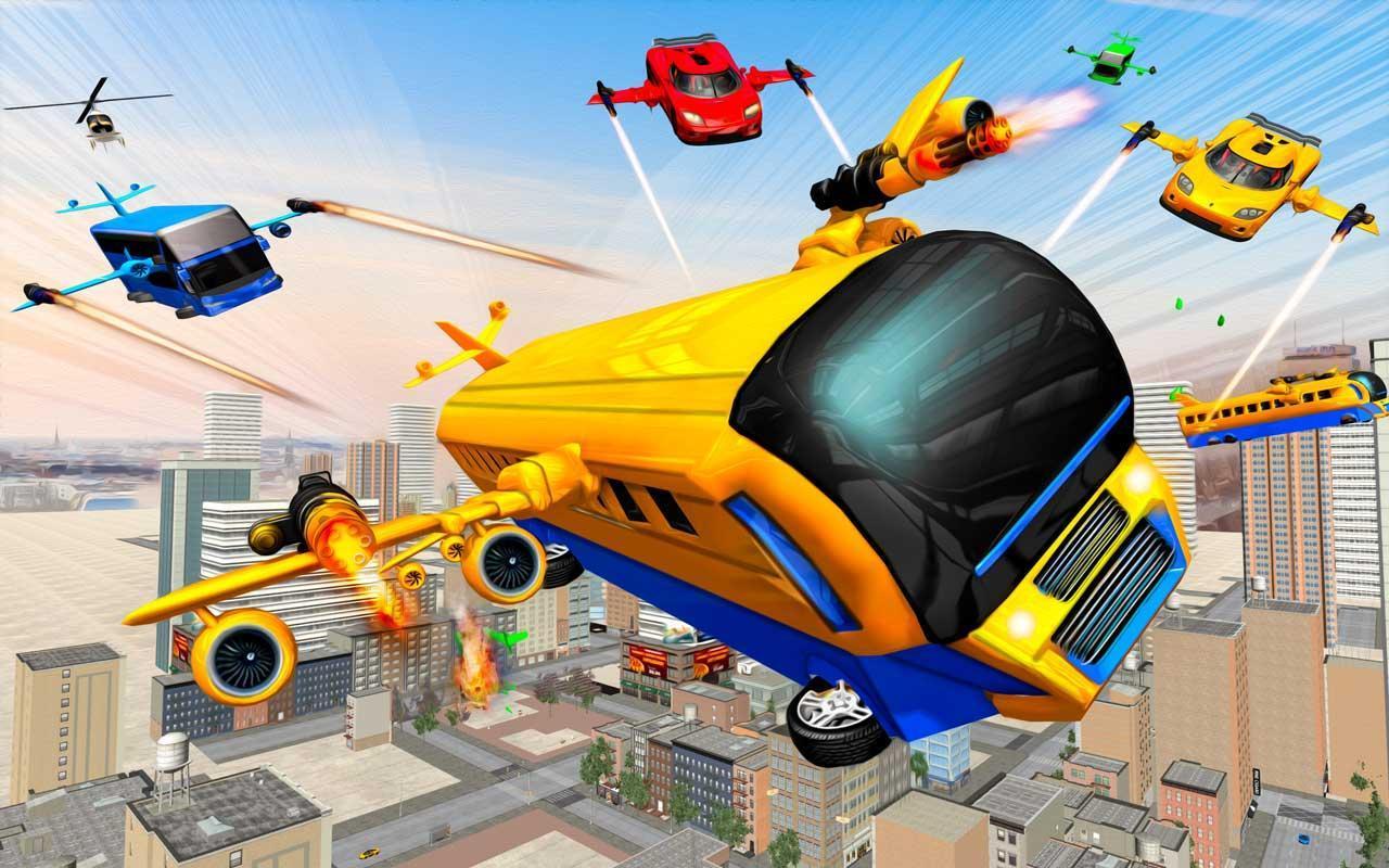 Flying Bus Robot Transform War: Robot Hero Game 1.0 Screenshot 1