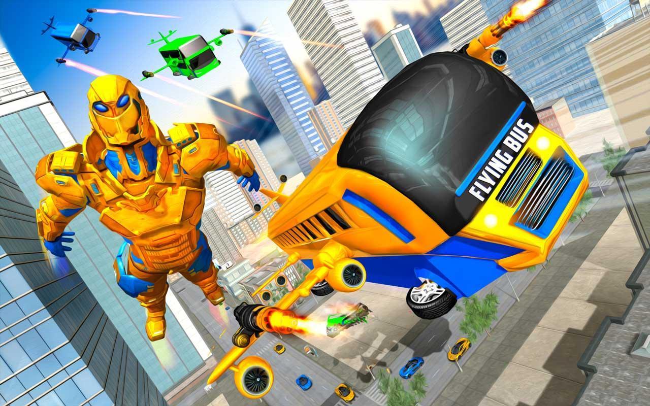 Flying Bus Robot Transform War: Robot Hero Game 1.0 Screenshot 2