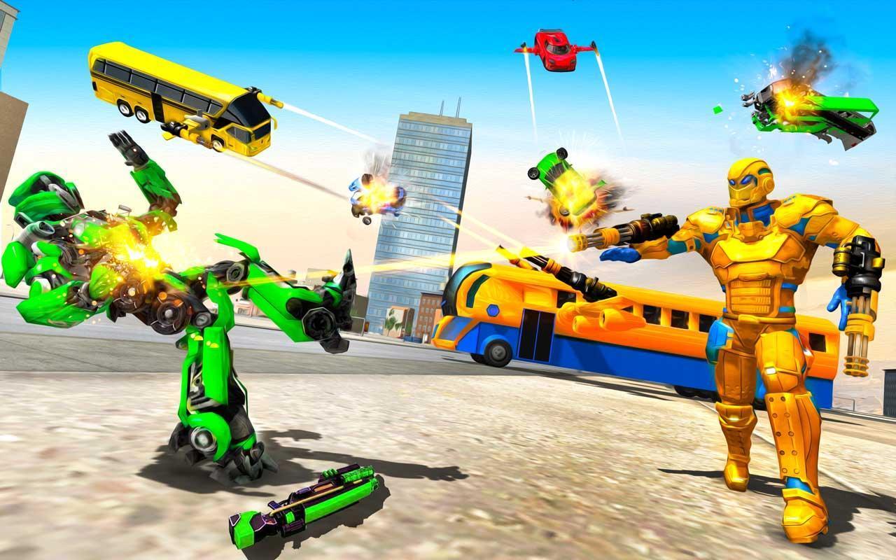 Flying Bus Robot Transform War: Robot Hero Game 1.0 Screenshot 6
