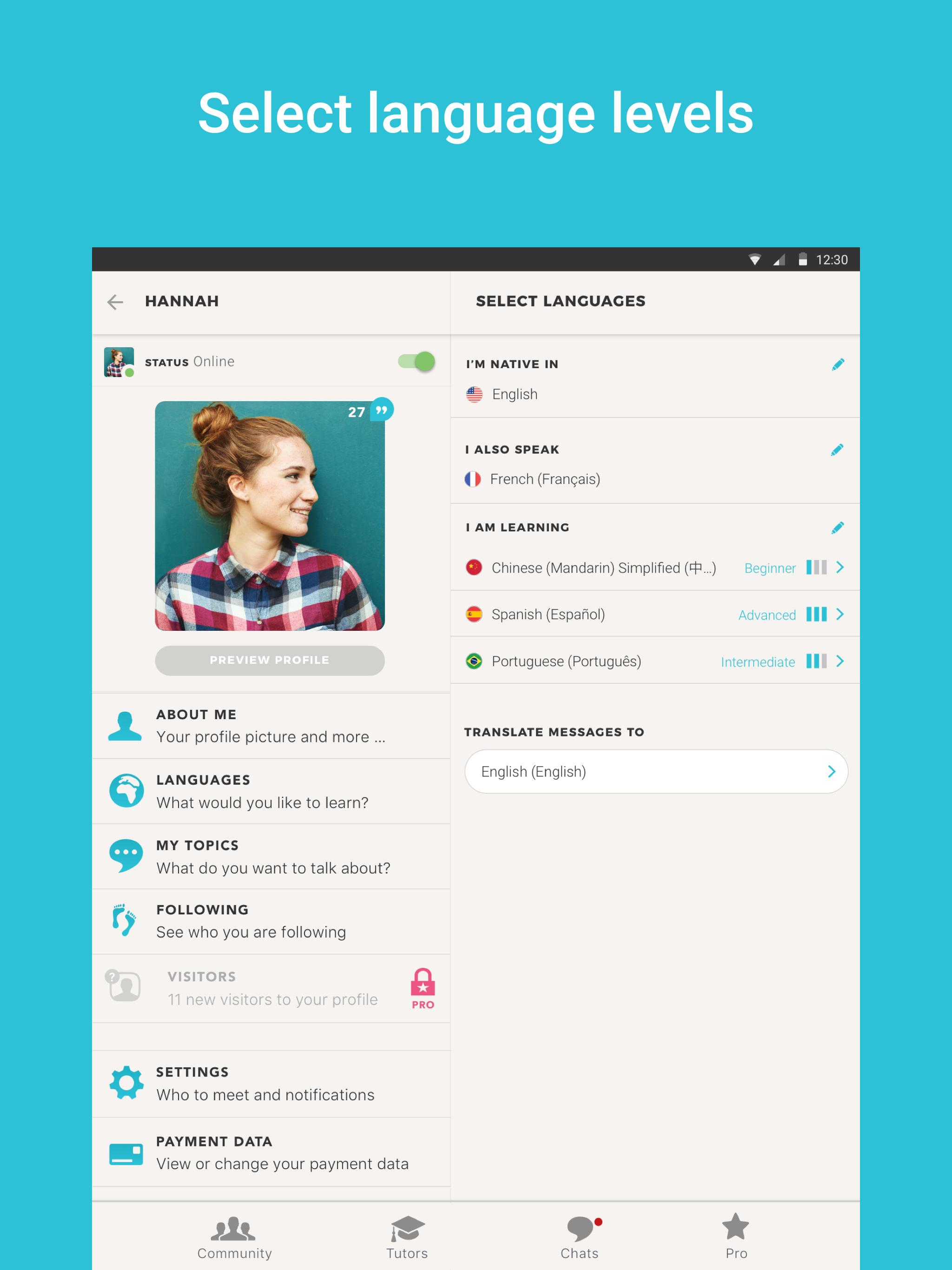 Tandem Language Exchange: Speak & learn languages 2.1.3 Screenshot 7