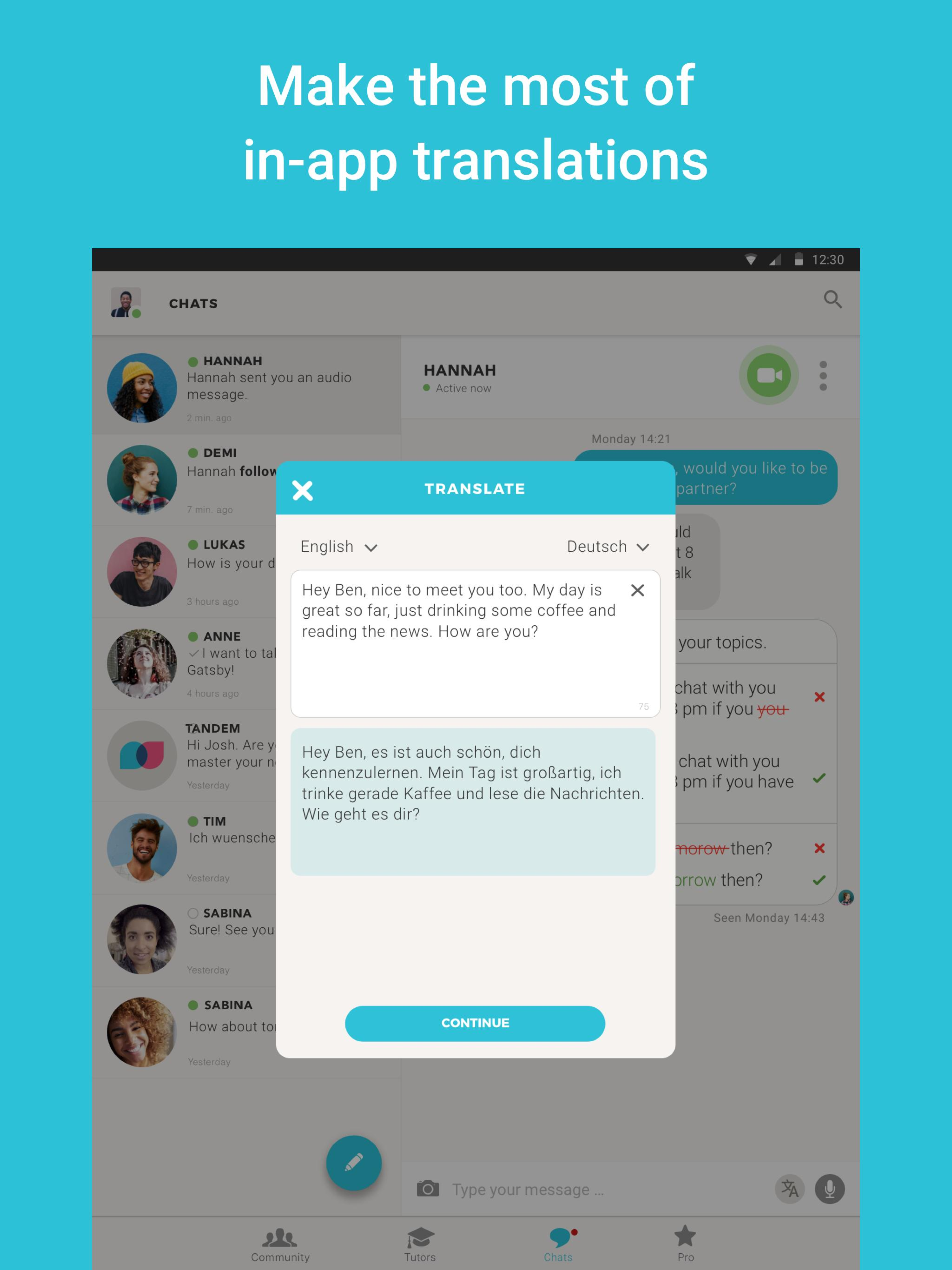 Tandem Language Exchange: Speak & learn languages 2.1.3 Screenshot 9