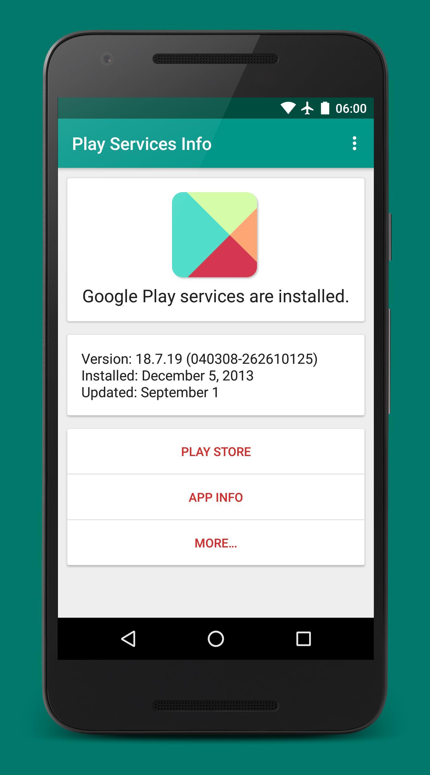 Play Services Info (Update) 0.15 Screenshot 1