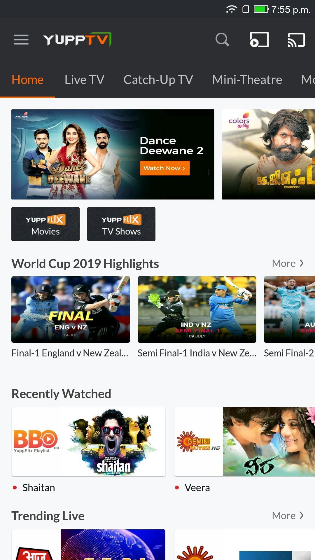 YuppTV LiveTV Movies Shows 7.7.2 Screenshot 1