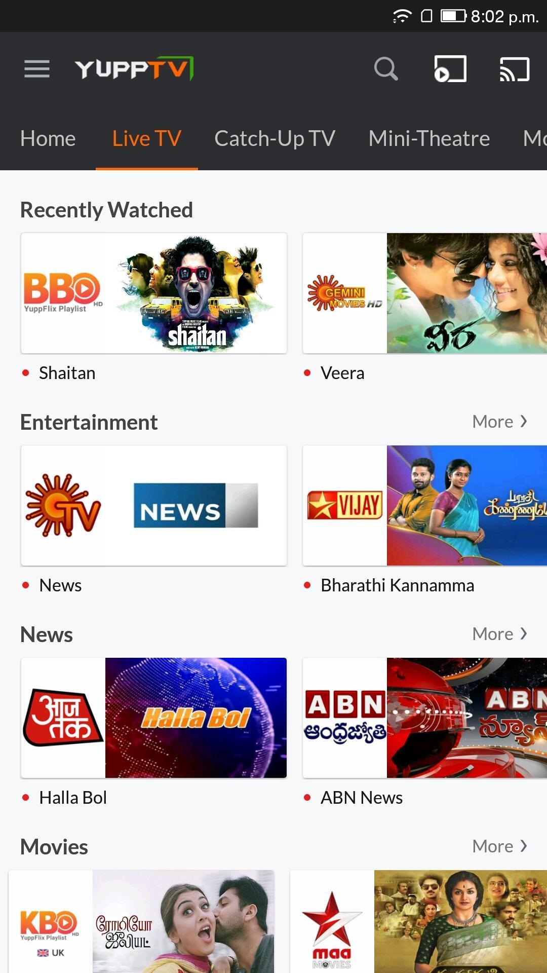 YuppTV LiveTV Movies Shows 7.7.2 Screenshot 2